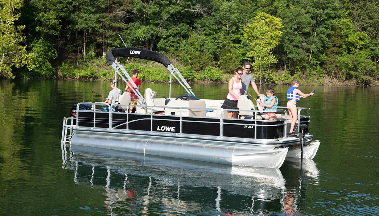 2016 sf214 fishing pontoon boat lowe boats for Fishing pontoon boats