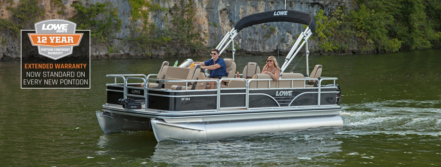 2018 sf194 sport fishing pontoon boats lowe boats for Best fishing pontoon