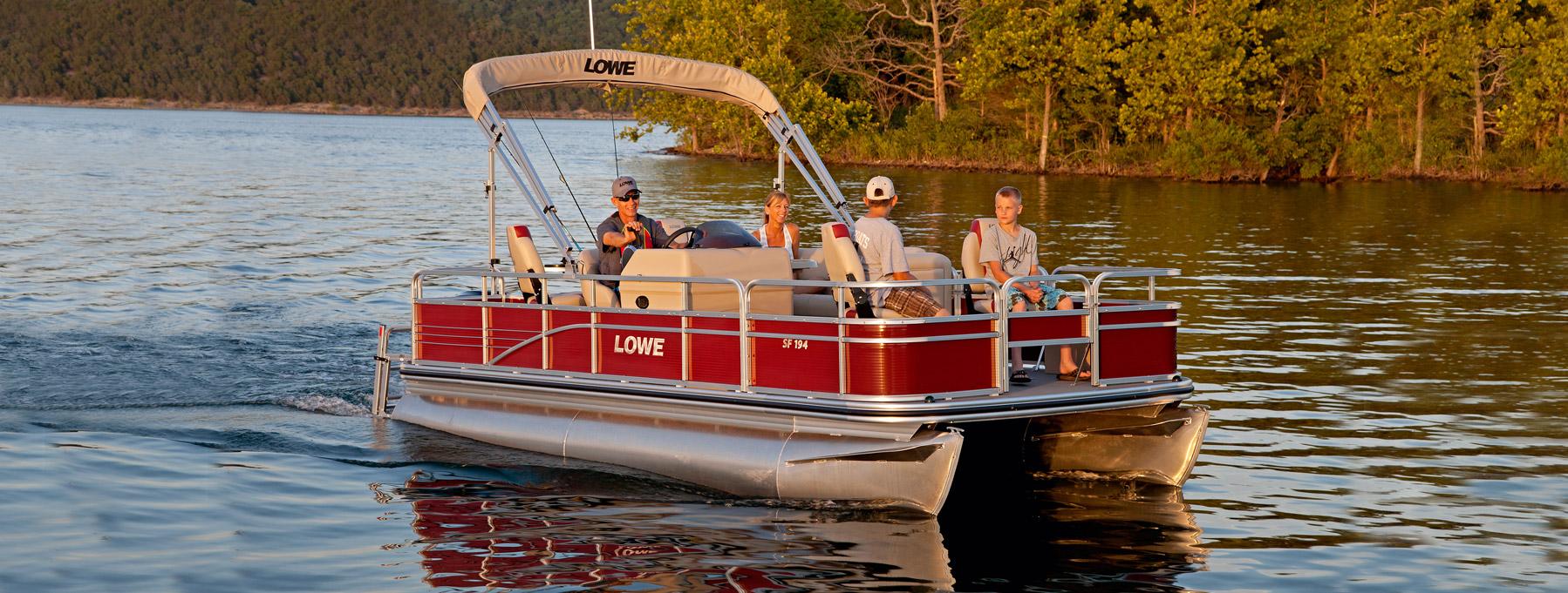 Lowe pontoons sf194 fishing pontoon top small sport for Best fishing pontoon boat