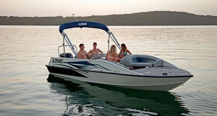 Sd224 fishing ski deck boat new aluminum deck boats for Aluminum fish and ski boats