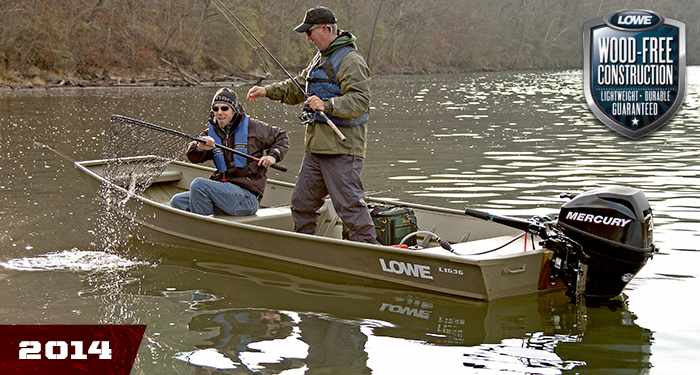 Lowe boats l1636l riveted jon river boats for duck hunting for Best river fishing boat